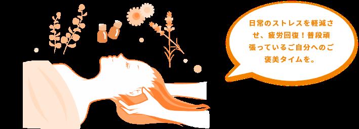 アロマトリートメント 日常のストレスを軽減させ、疲労回復!普段頑張っているご自分へのご褒美タイムを。